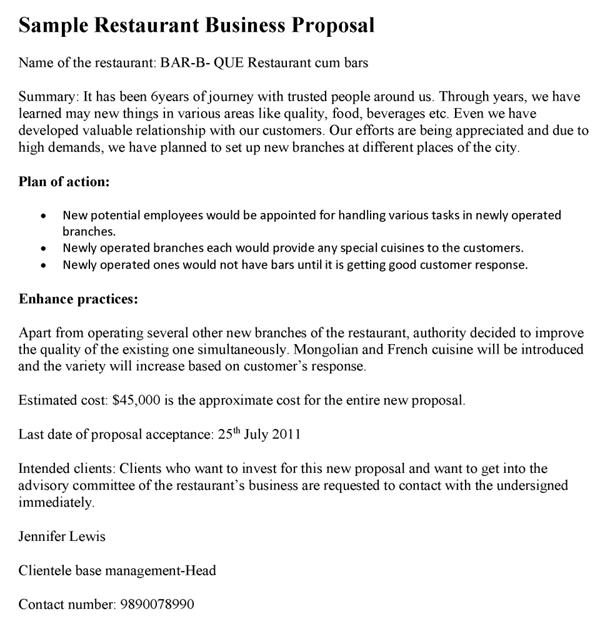 sample restaurant business project plan