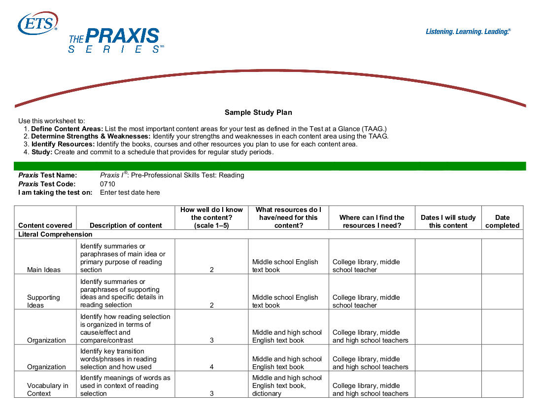 9  study plan templates for students