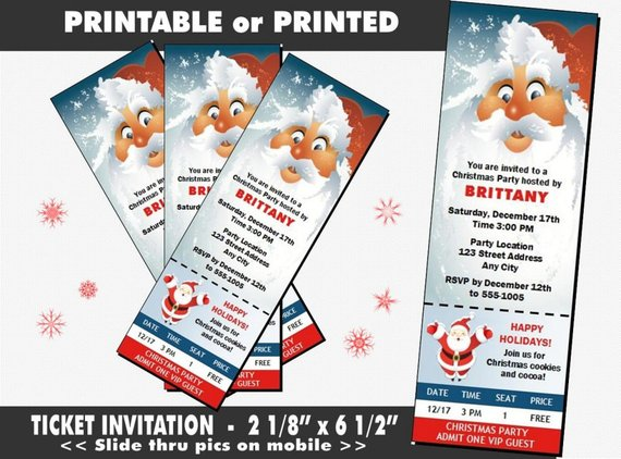 santa christmas invitation party ticket template example