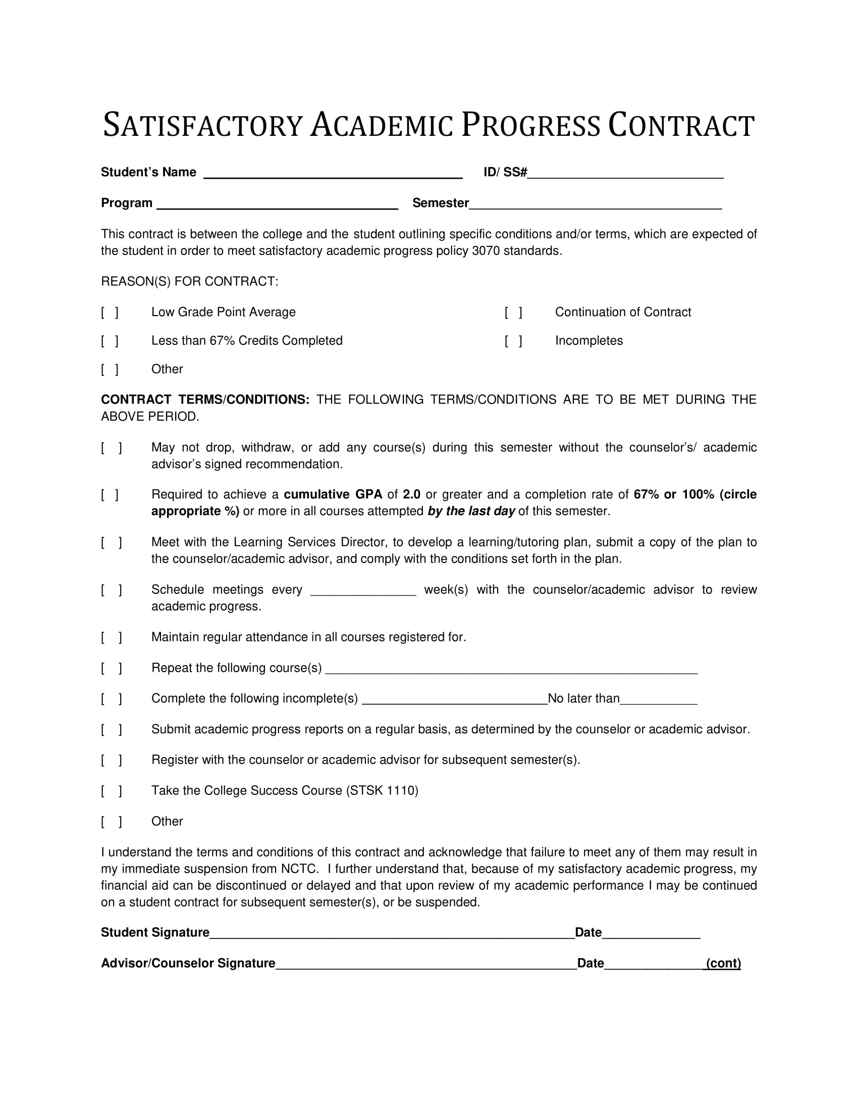 satisfactory academic progress contract for students template example 1