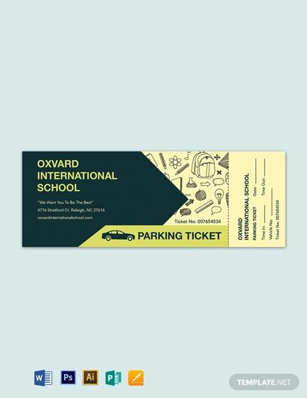 school parking ticket template