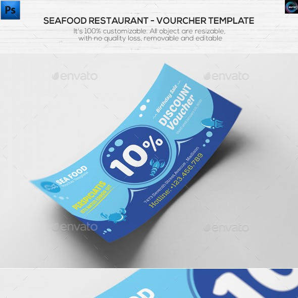 seafood restaurant voucher design example