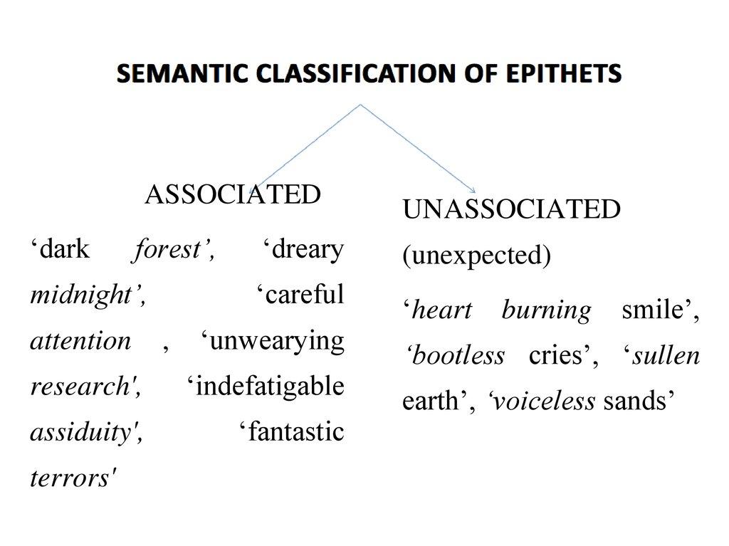 semantic classification of epithets