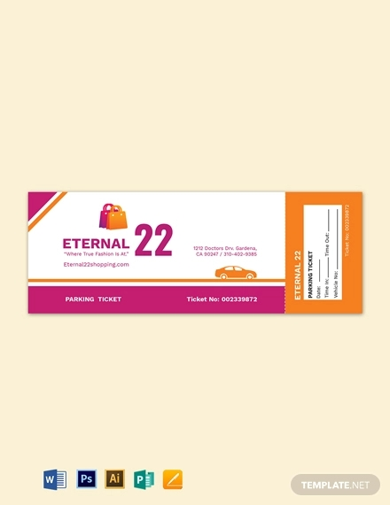 shopping parking ticket template