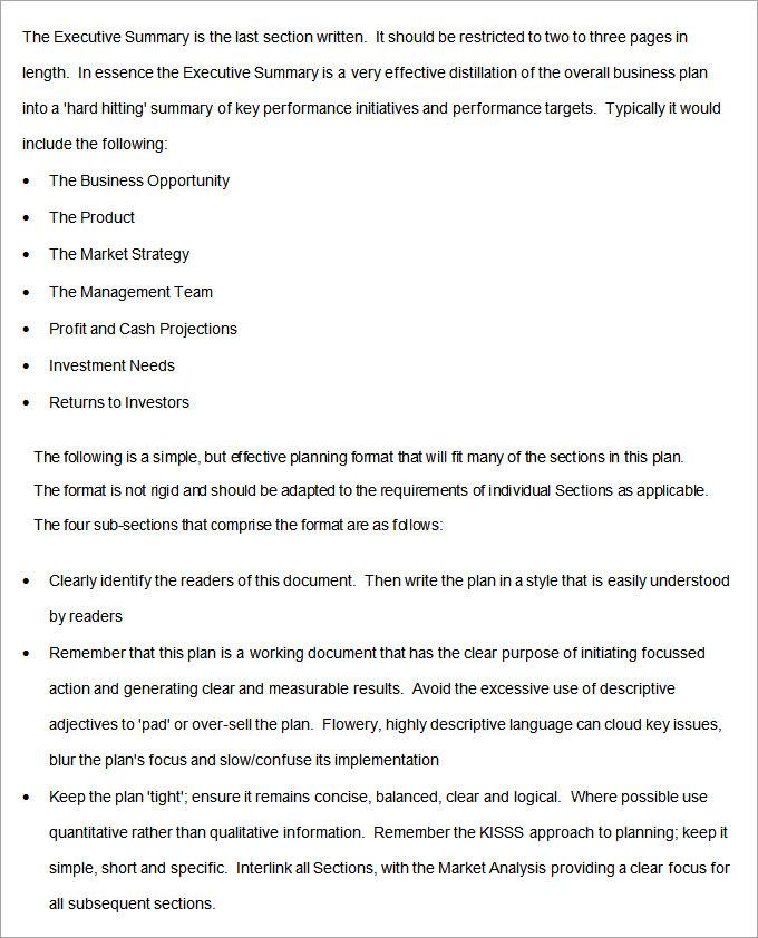 short business project plan for restaurant