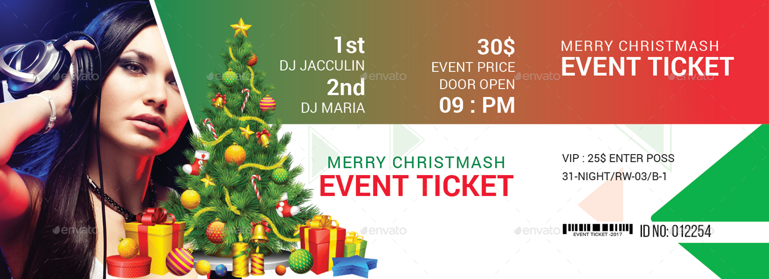 silent night merry christmas event ticket example