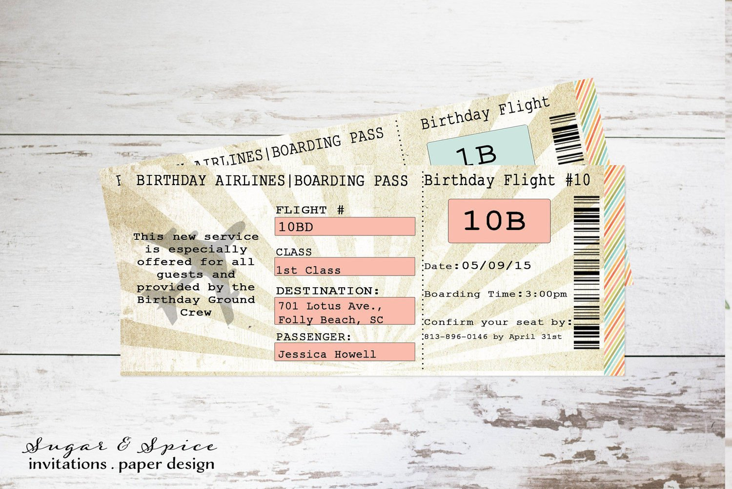 simple airplane birthday boarding pass invitation ticket example