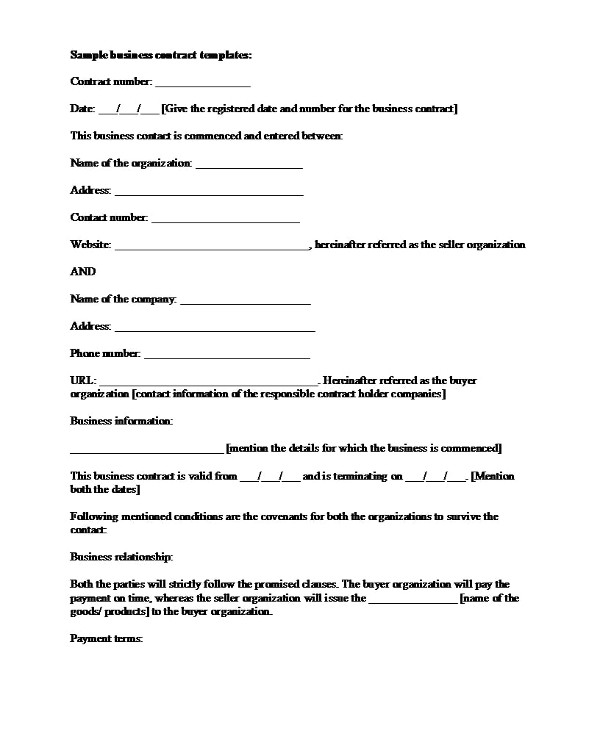 simple business management contract template example1
