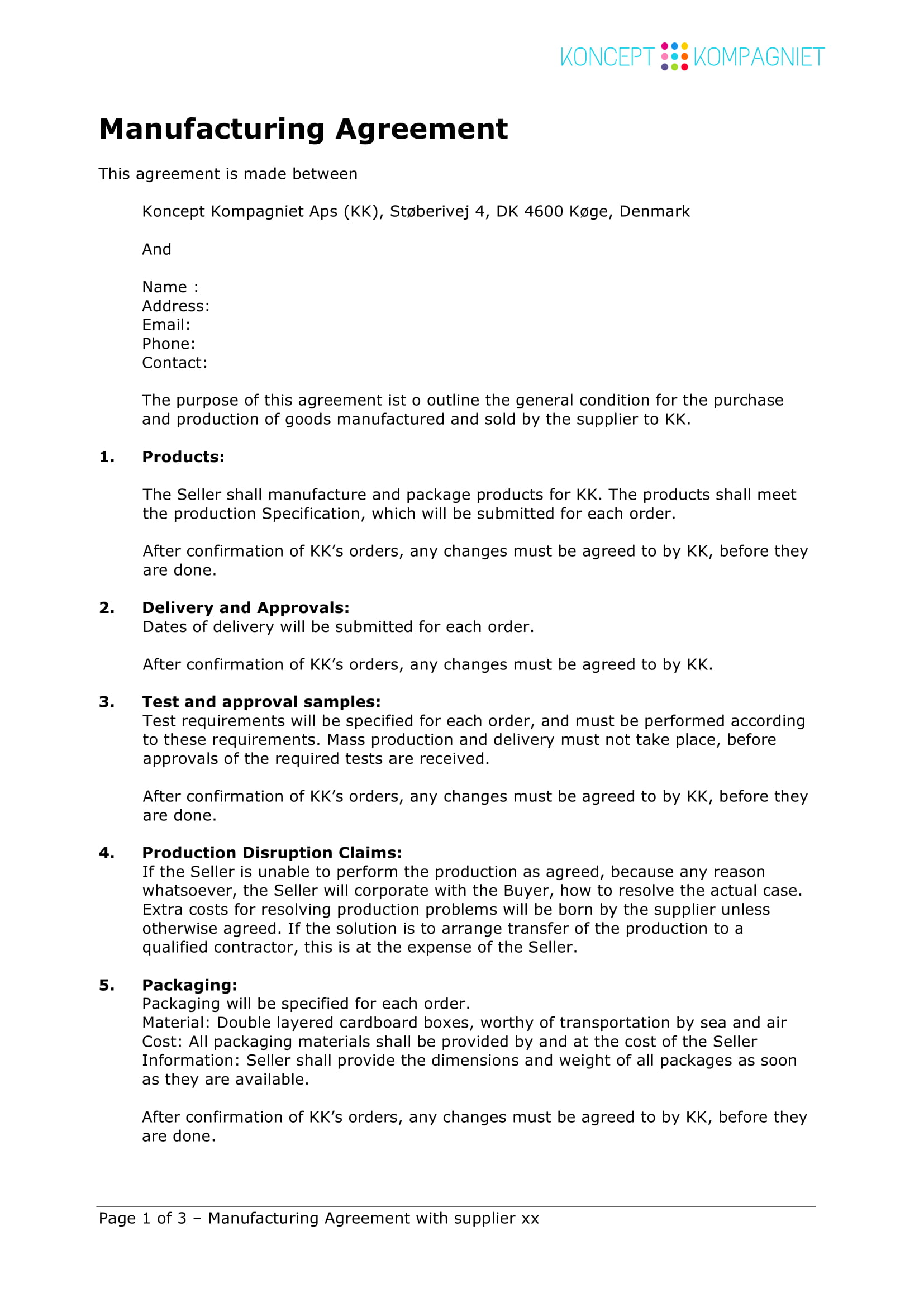 simple contract manufacturing agreement template example 1