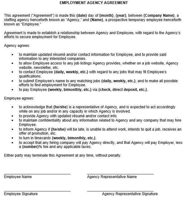 9+ Recruitment Agency Contract Template Examples - PDF
