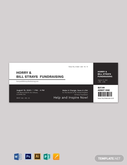 simple fundraiser ticket template