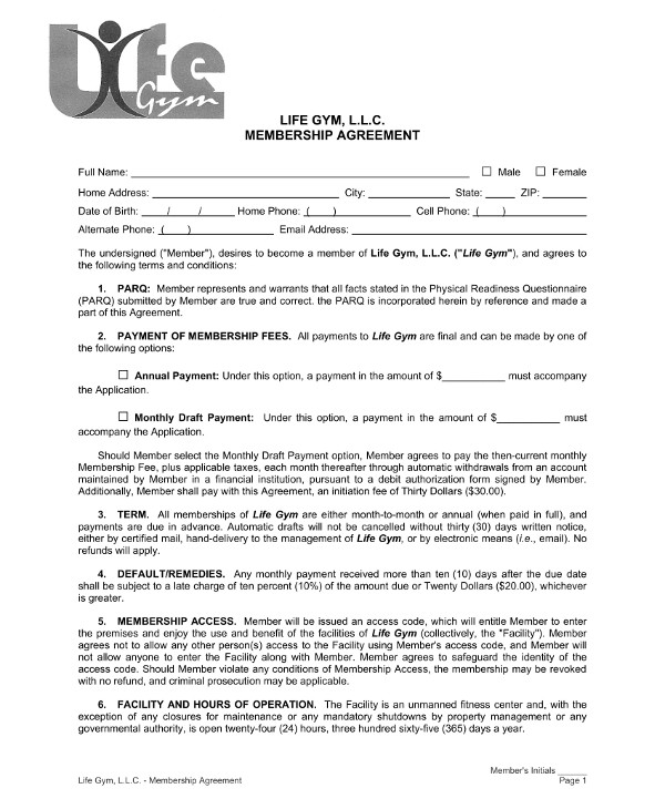11 Gym Membership Contract Examples Word Docs Pages
