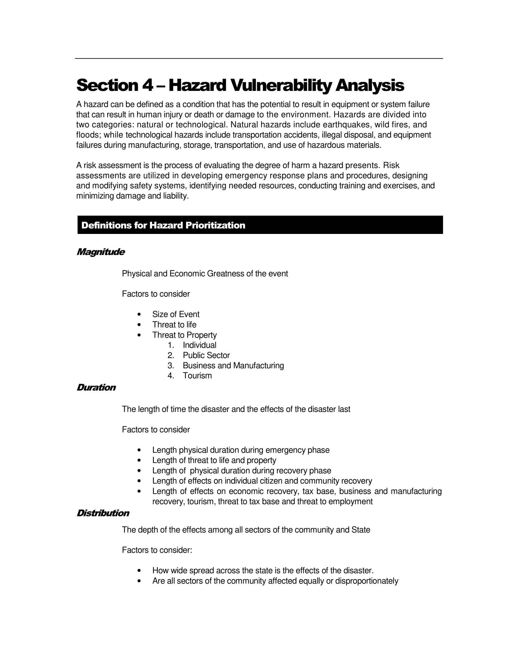simple hazard vulnerability analysis example