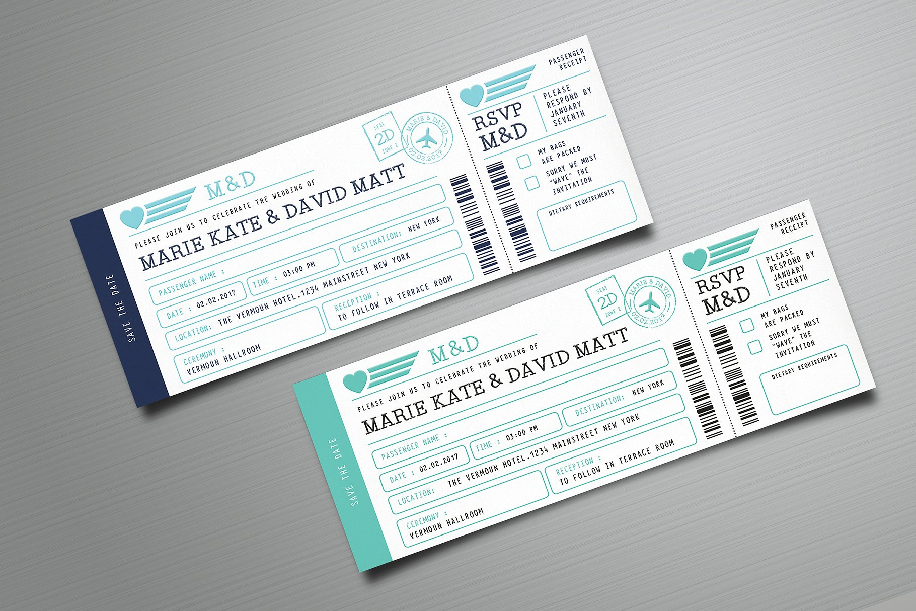 simple wedding boarding pass ticket example