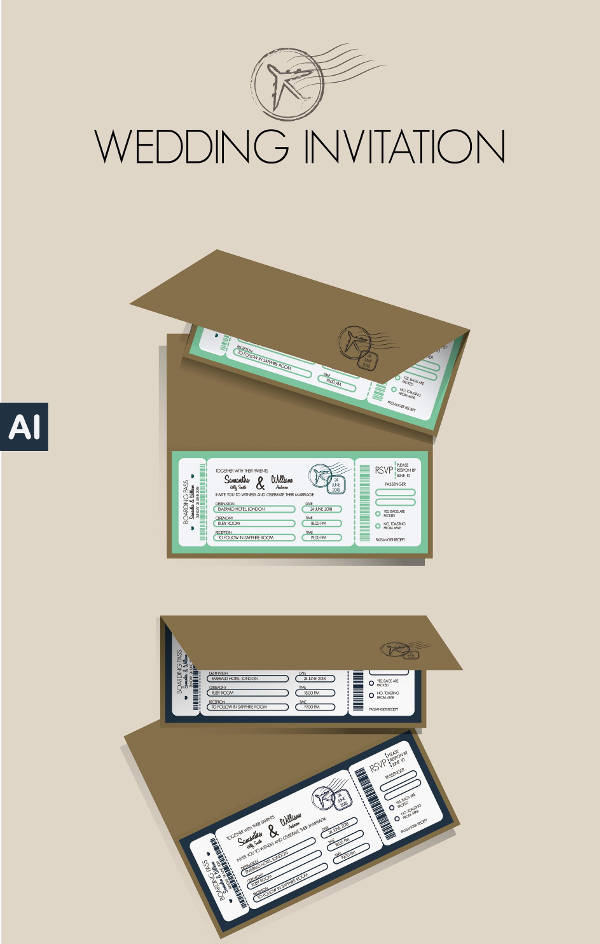 sleek wedding boarding pass ticket design example