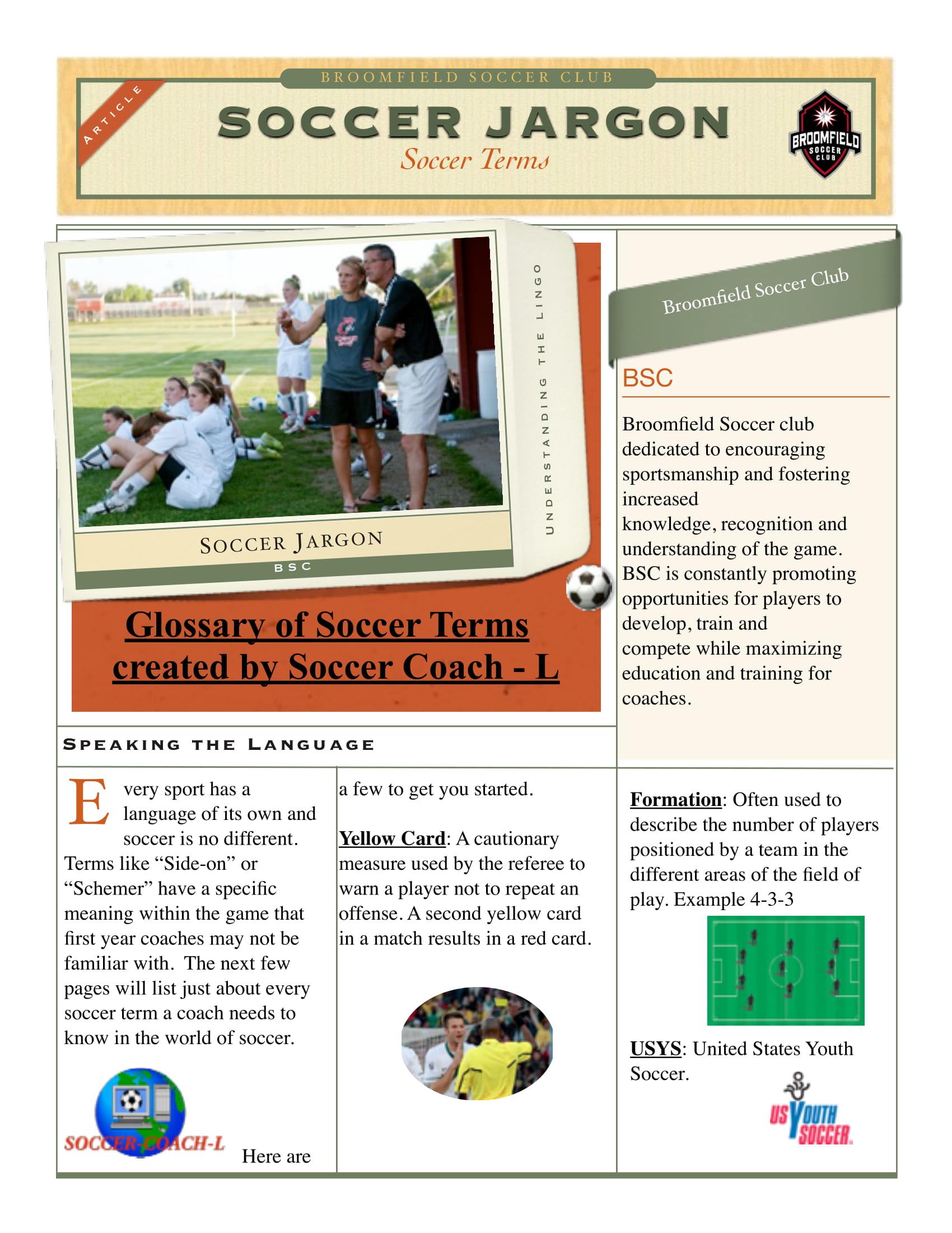soccer jargon example