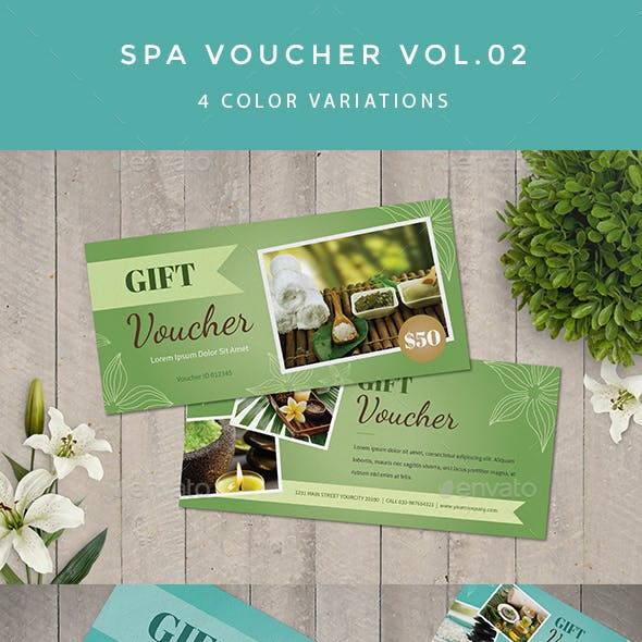 spa voucher in refreshing color templates