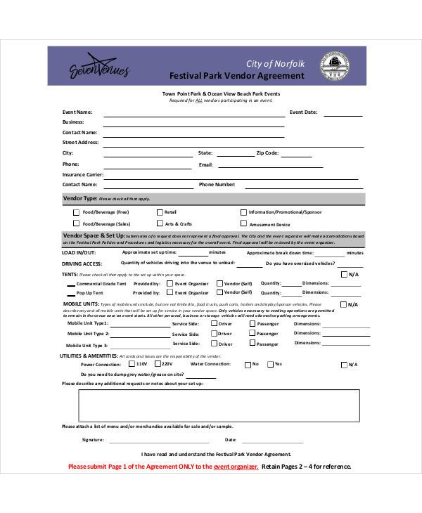 special event vendor agreement