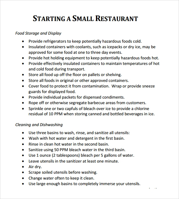 starting a small restaurant project plan