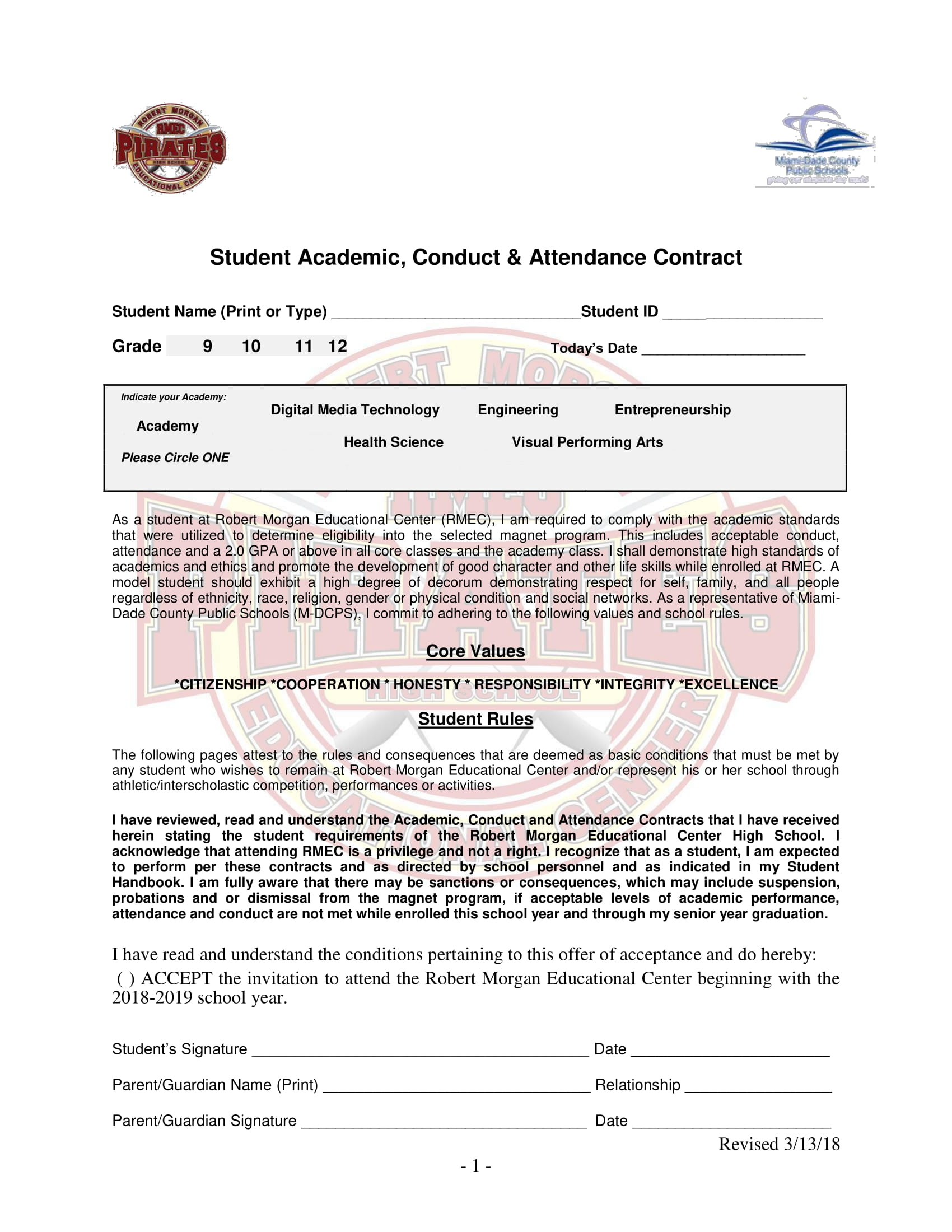 student academic conduct and attendance contract template example 1