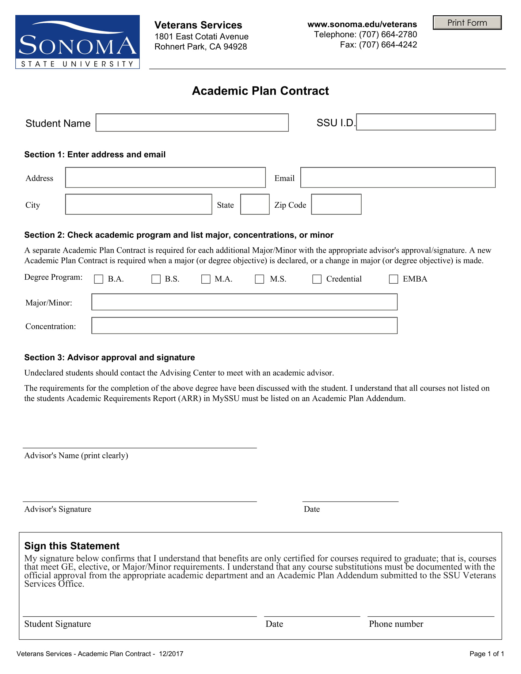 student academic plan contract template example 1