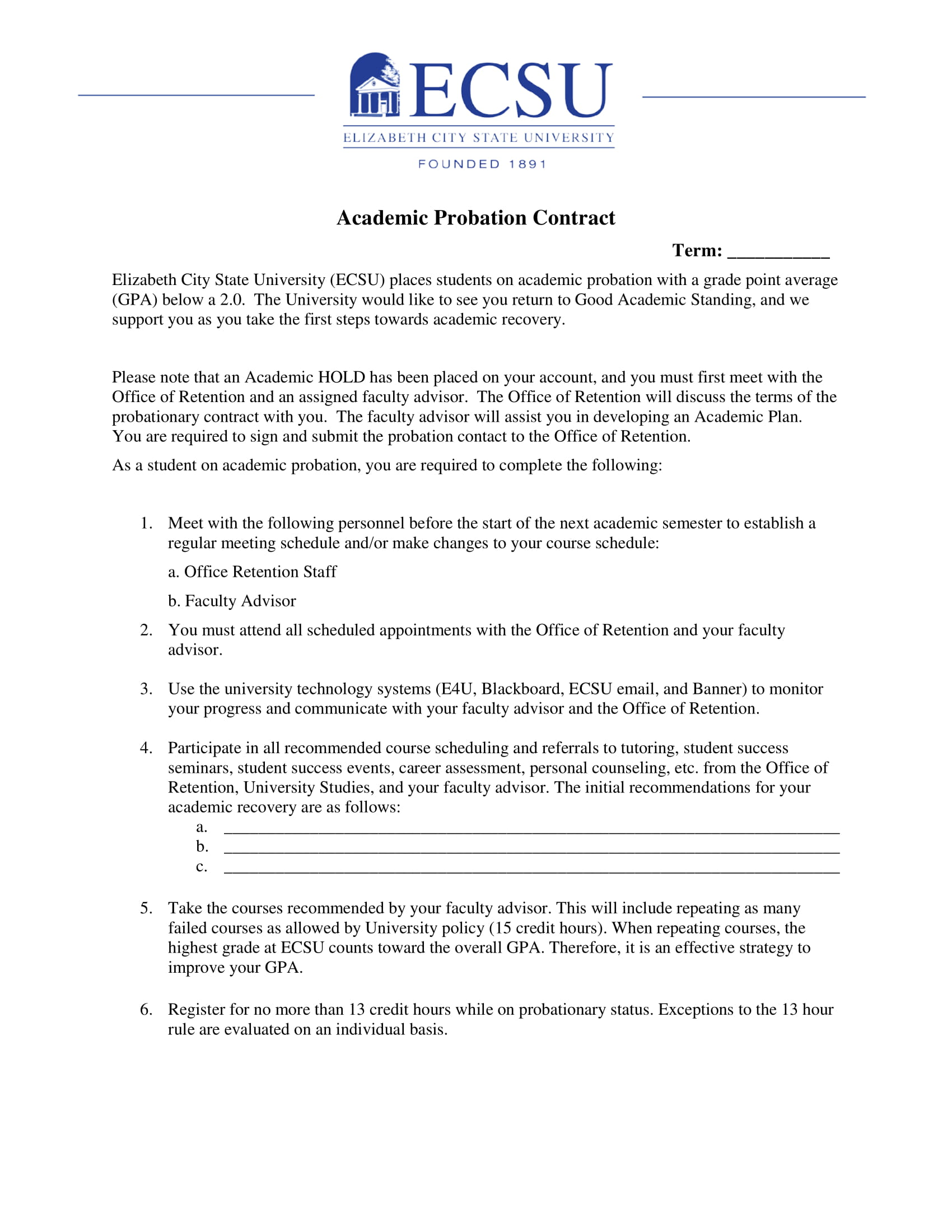 student academic probation contract format example 1