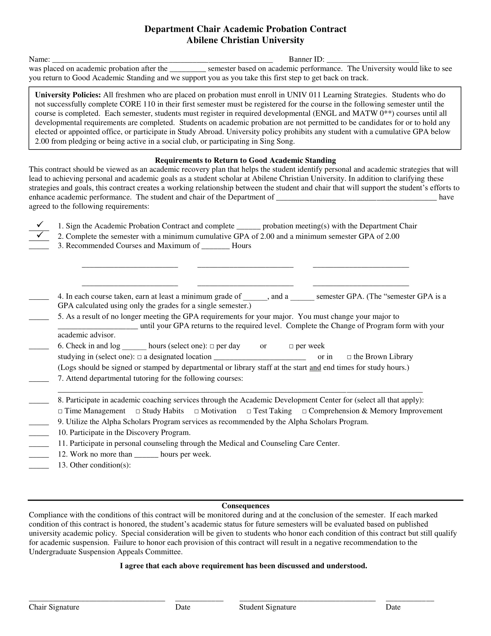 student academic probation contract template example 1
