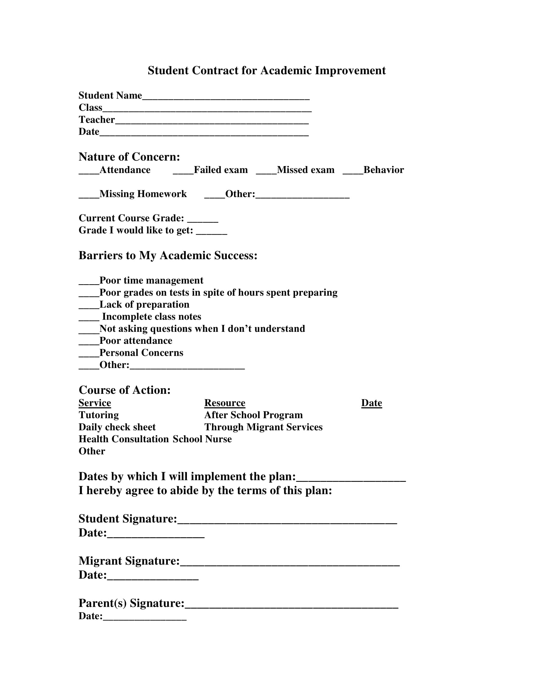 student contract for academic improvement template example 1