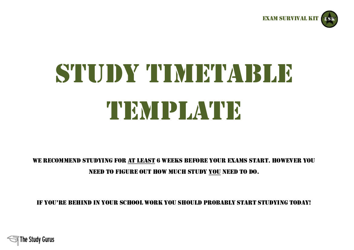 study timetable template example