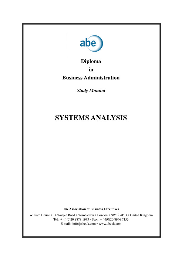 systems analysis study manual for businesses example