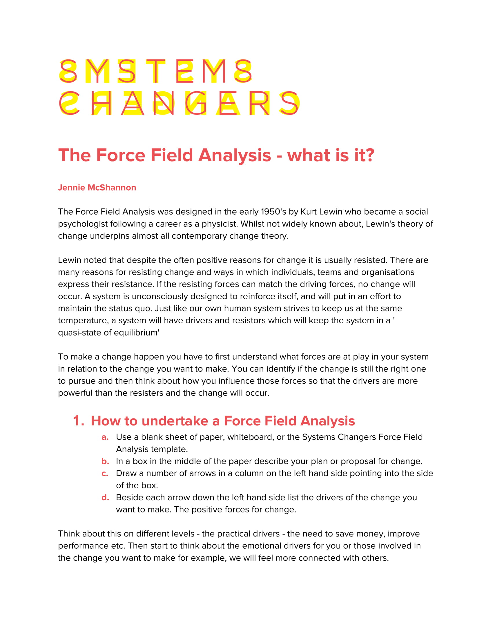 systems changers the force field analysis