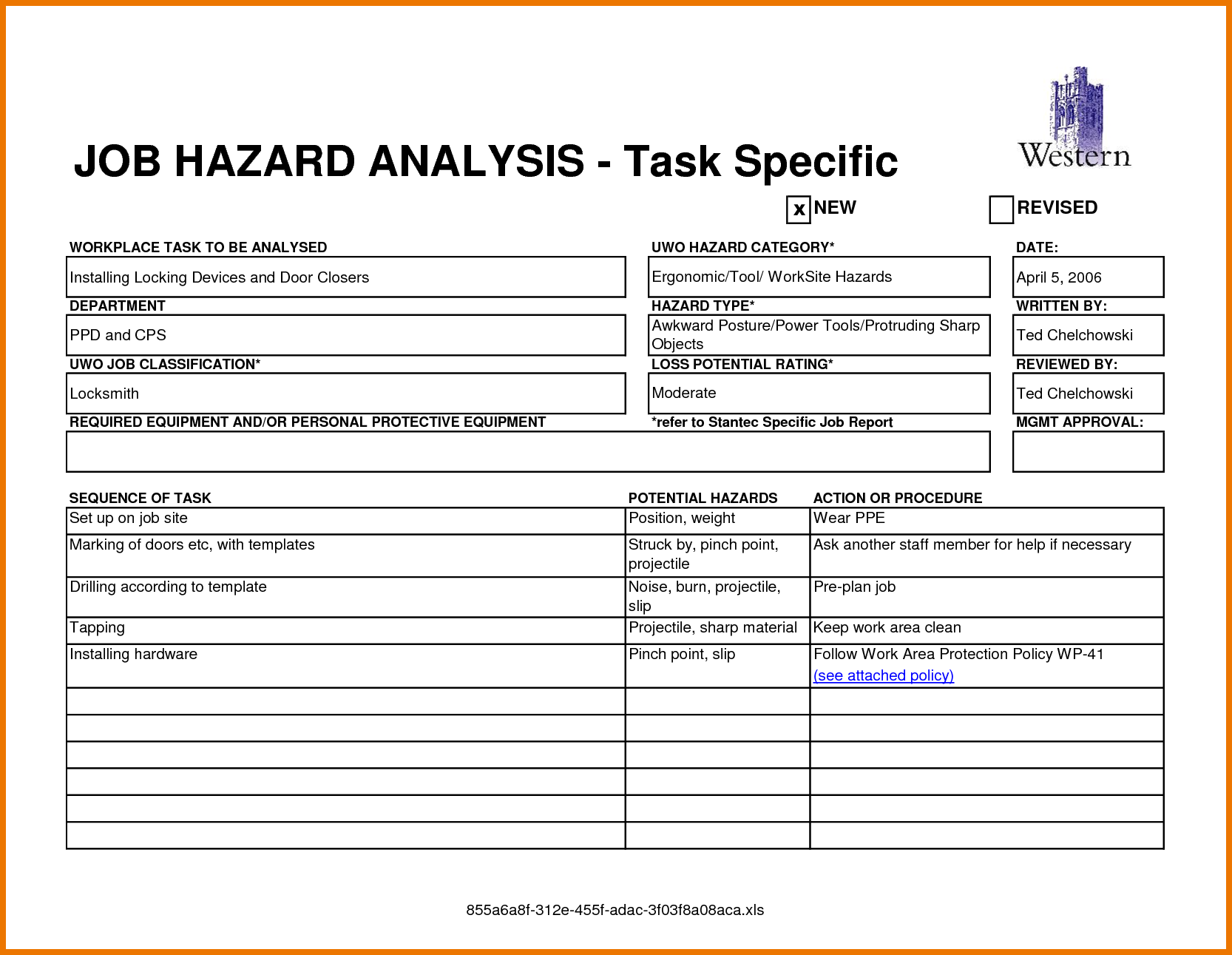 task specific job hazard analysis