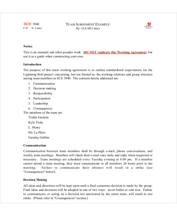 7 Team Agreement Examples Samples Pdf