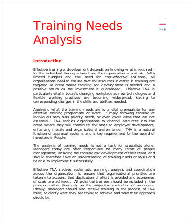 template for training needs analysis example