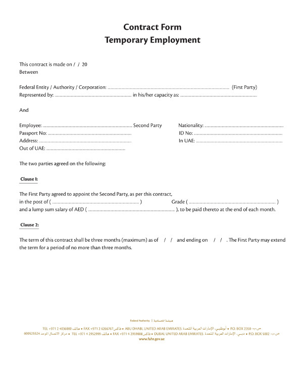 temporary employment contract for contract workers example1