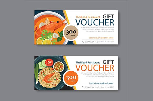 thai food restaurant discount voucher design example