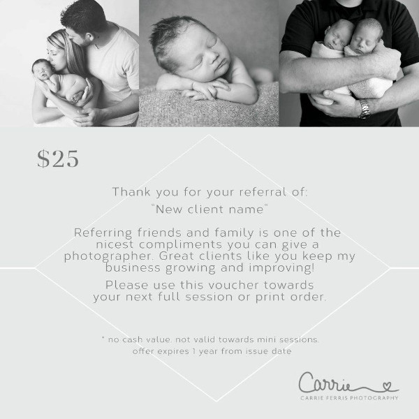 thank you and welcome photography referral coupon example