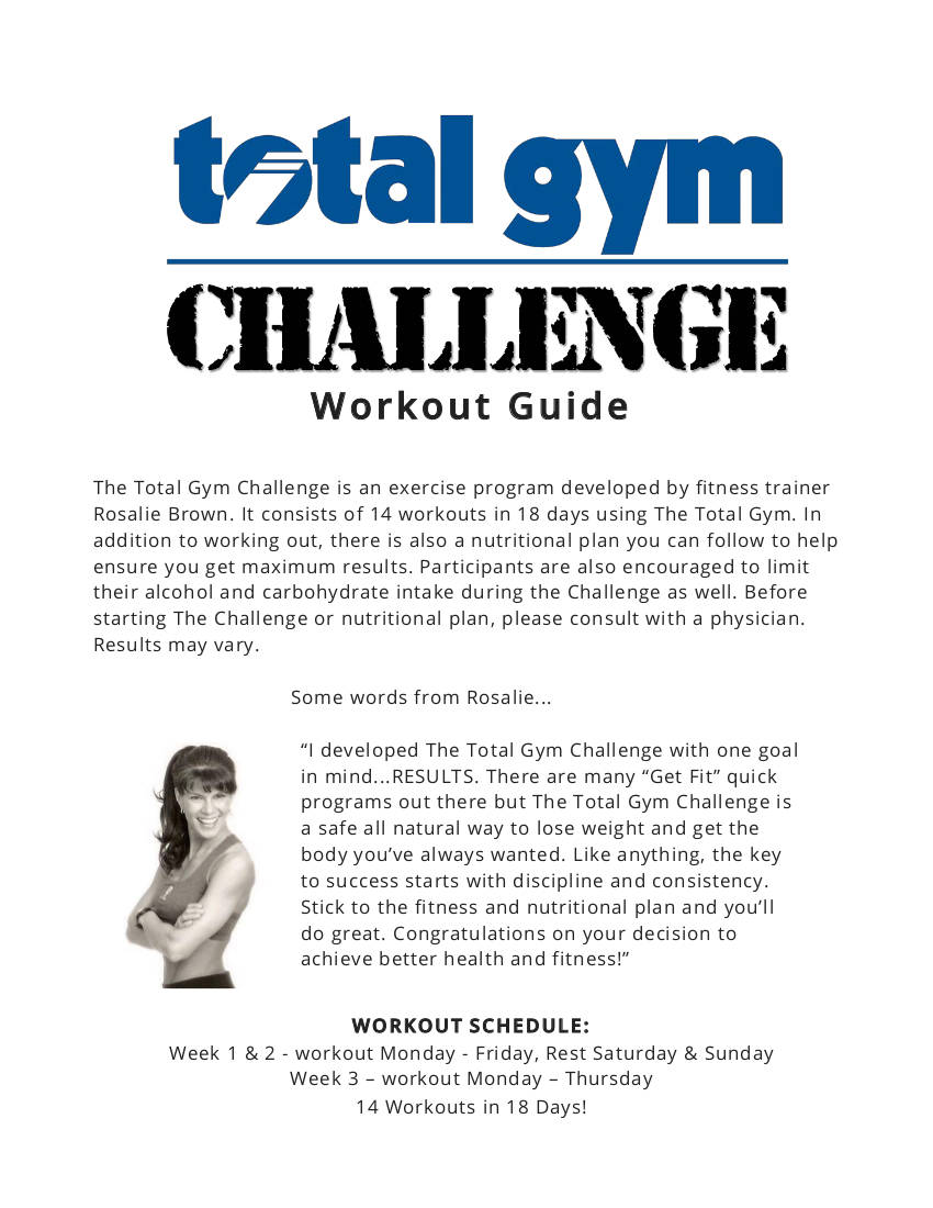 total gym challenge workout plan example