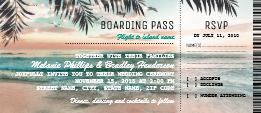 tropical beach wedding boarding pass ticket