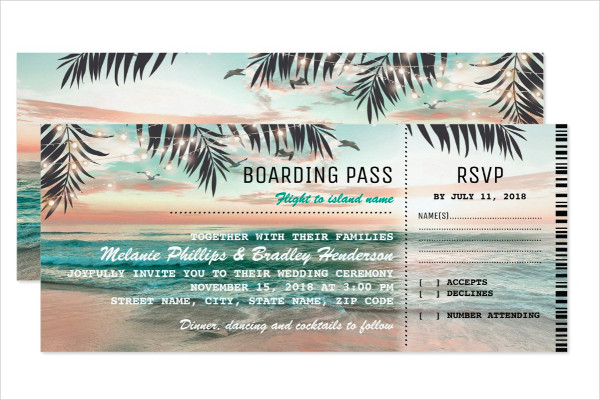tropical beach wedding boarding pass ticket1