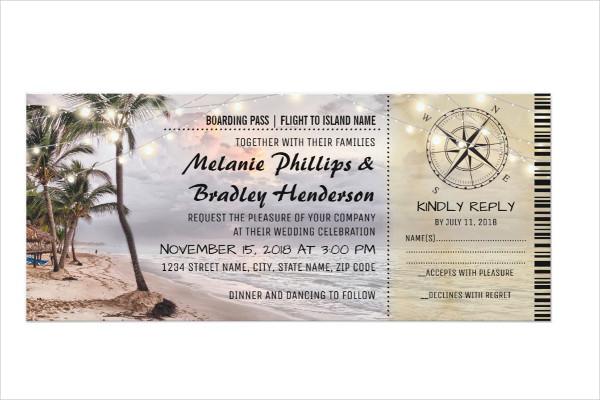 tropical wedding boarding pass ticket invitation1