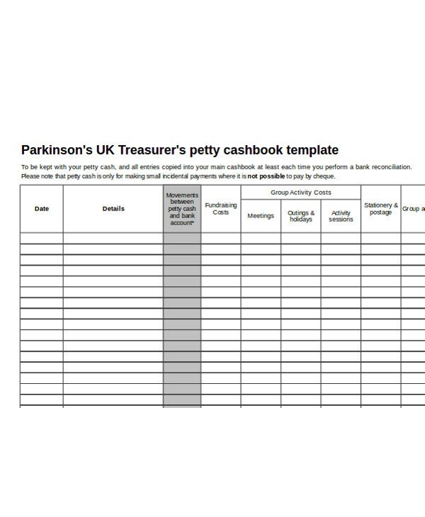 uk petty cashbook example