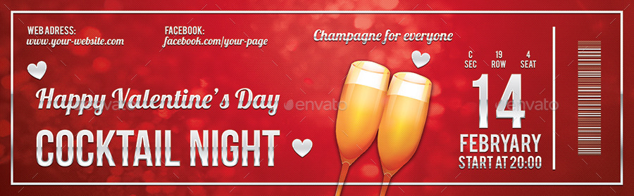 valentine's day cocktail night event ticket example