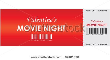 valentines's movie night event ticket example