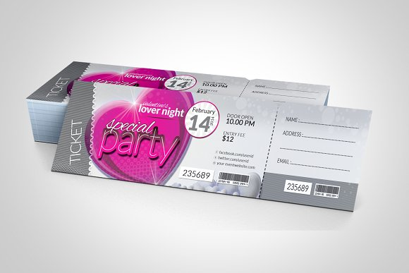 valentines day event party ticket example