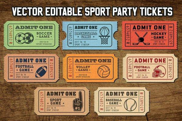 vector sport tickets template example