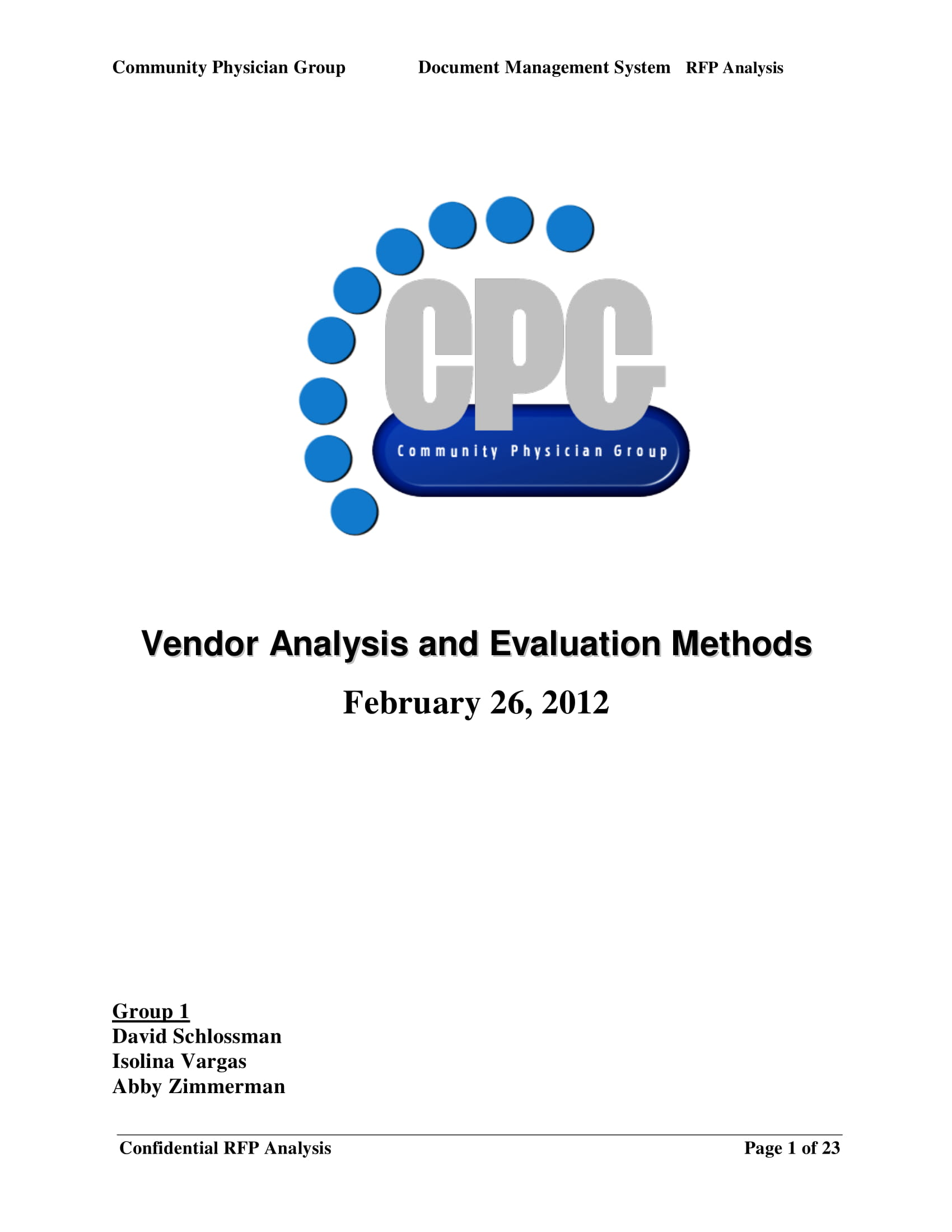 vendor analysis and evaluation methods example 01