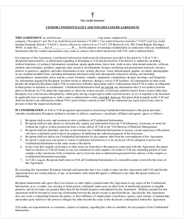 vendor confidential agreement