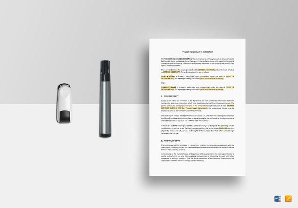vendor non compete agreement template