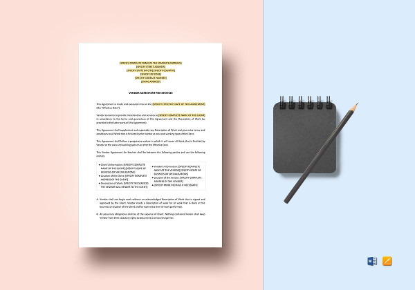 vendor service agreement template